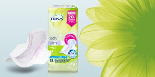"""""""TENA Lady Slim"""" pakuotės nuotrauka ir gėlė"""