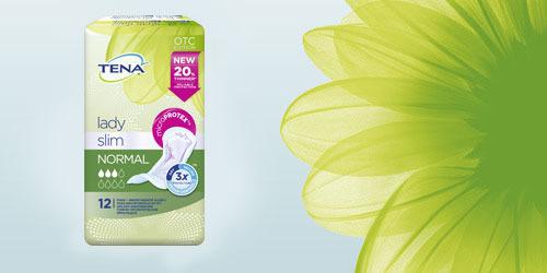 Упаковка TENA Lady Slim и цветок