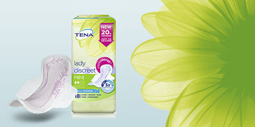 TENA Lady Discreet packshot and flower