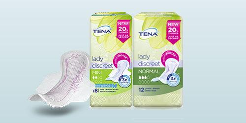 TENA Lady Discreet packshot of three products