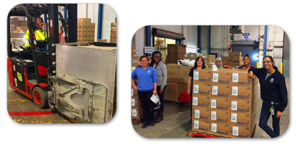Image of Essity Team packaging and shipping TENA Bathing Gloves - TENA Professional
