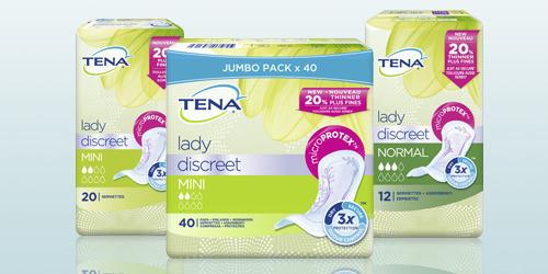 Photo de trois produits TENA Lady Discreet