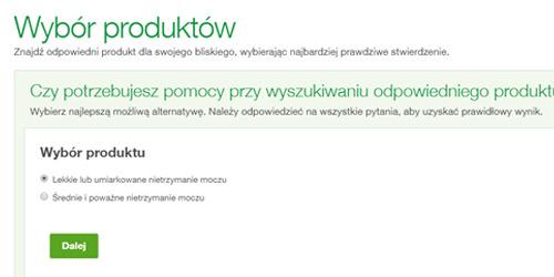 Zrzut ekranu z wyszukiwarki produktów TENA Opiekunowie