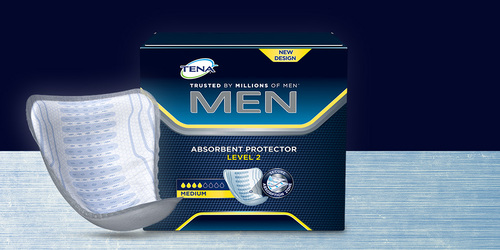 Paquet et produit TENA Men Protections absorbantes exposés
