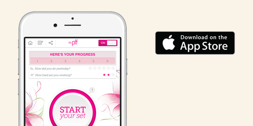 Smartphone showing my pelvic floor fitness app and that it's available on app store.