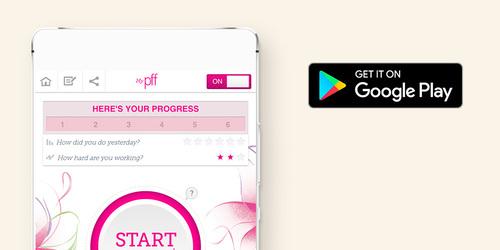 Smartphone met fitnessapp voor bekkenbodem en dat het beschikbaar is bij Google Play.