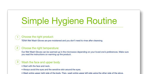 Snap shot of the TENA Family Carer Simple Hygiene Routine template