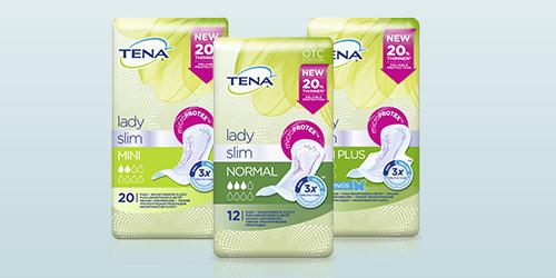 Záber balenia troch produktov TENA Lady Slim