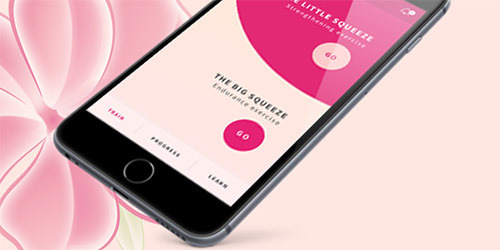 Smartphone, das die Beckenboden-Fitness-App anzeigt.