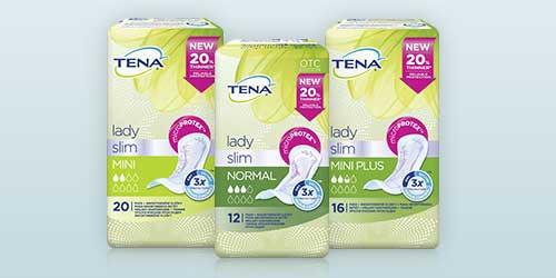 Zdjęcie opakowań trzech produktów TENA Lady Slim