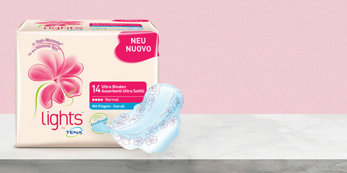 Incontinence liners from lights by TENA, the ultra pack.