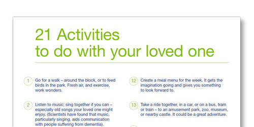 Illustrated list of twenty one activities to do with your loved one