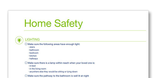 Snap shot of the TENA Family Carer Home Saftey template