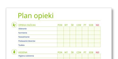Zrzut ekranu z szablonu planu opieki TENA Opiekunowie