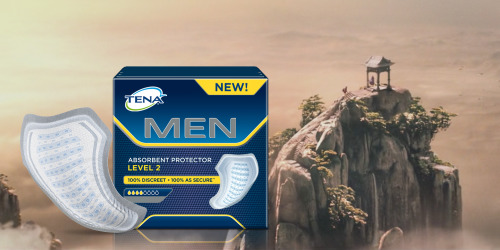 Package of male protectors in front of a mountain.