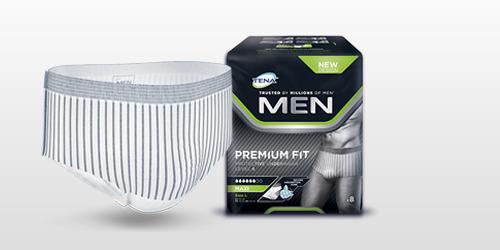 TENA Men Premium Fit beskyttende undertøy produkt og pakke