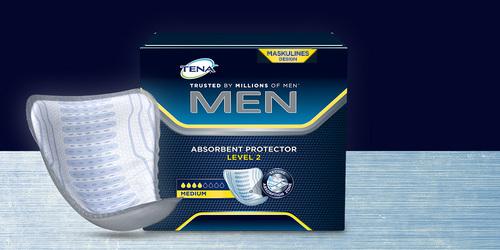 Abbildung des Pakets und Produkts TENA Men saugfähige Einlagen
