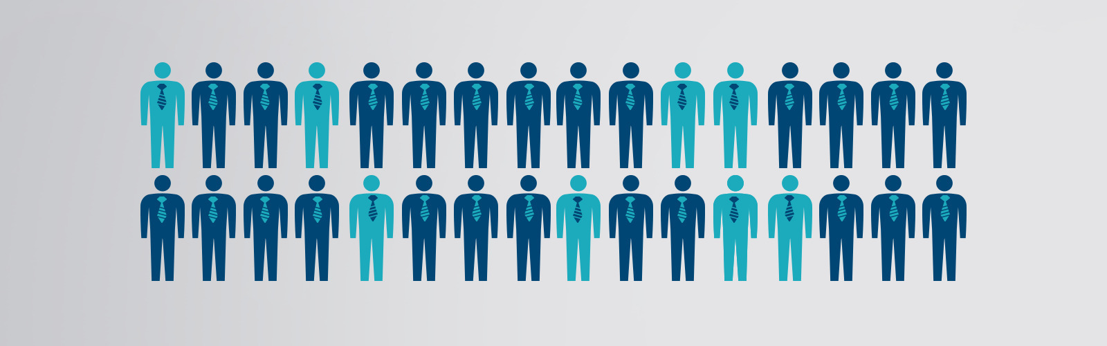Illustrated icon showing 8 out of 32 men in a lighter shade of blue