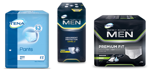 TENA Pants Normal pack, TENA Men Absorbent Protector Level 2 pack and TENA Men Premium Fit Protective Underwear pack