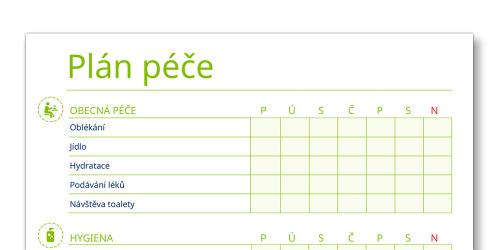 Snímek šablony plánu péče TENA Family Carer