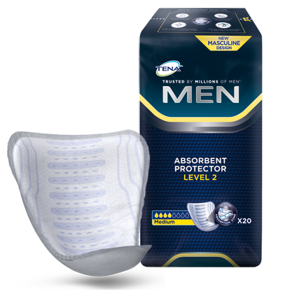 TENA Men Absorbent Protector Level 2 front of product and pack medium absorbency control for security against leaks and surges