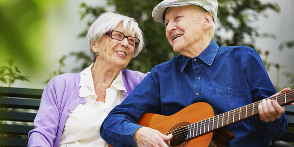 Image of Man and Woman with Guitar - TENA Professional