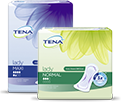 TENA Lady Maxi pack for medium to heavy bladder weakness and TENA Lady Discreet Normal pack for light to medium bladder leakage