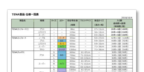 TENA製品 仕様一覧表