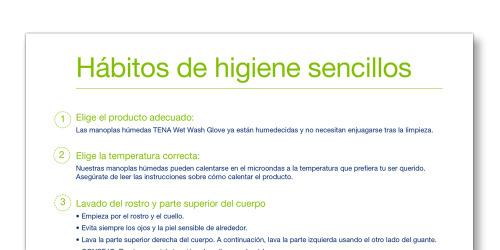 """Instantánea de la plantilla """"Hábitos de higiene sencillos"""" de TENA Cuidadores"""