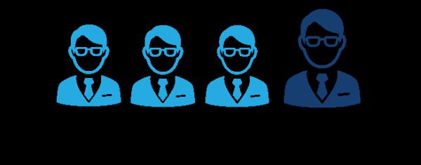 Illustration af 1 ud af 4 mænd