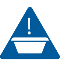 Icon of a Wash Basin Cross Contamination Warning - TENA Professional