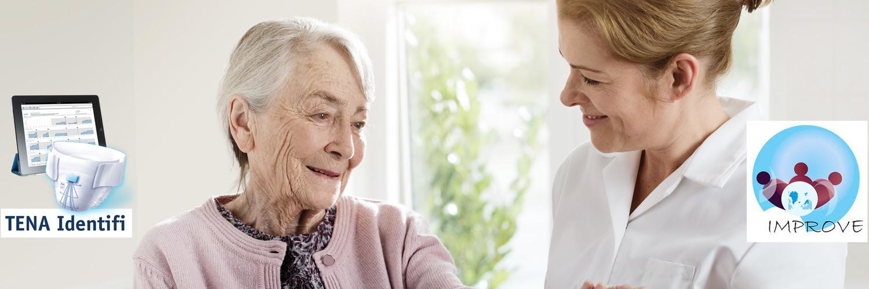 Bild från hemvård med TENA identifi skydd och IMPROVE's logotype