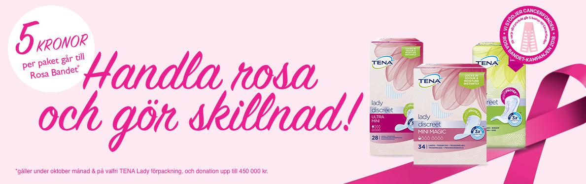 5kr per köpt paket TENA i Oktober går till Rosa Bandet
