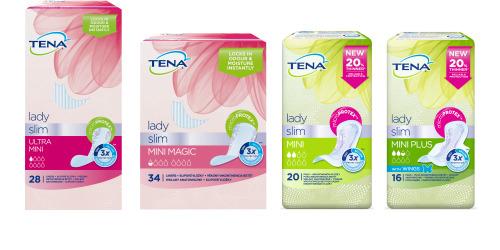 Vložky TENA Lady Slim – snímek čtyř  balení výrobků