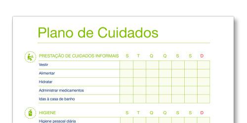 Imagem do modelo de Plano de Cuidados TENA Cuidadores