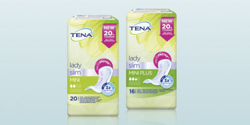Prikaz embalaže treh izdelkov TENA Lady Slim