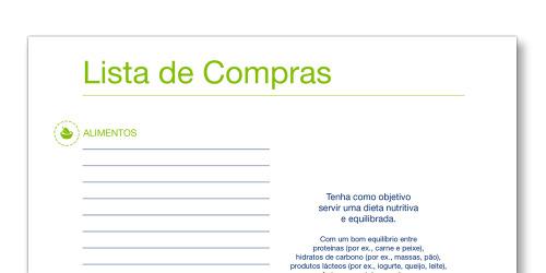 Imagem do modelo de Lista de compras TENA Cuidadores