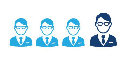 Illustrazione di 1 uomo su 4