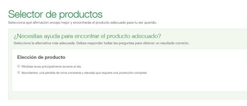 Instantánea del selector de productos TENA Cuidadores